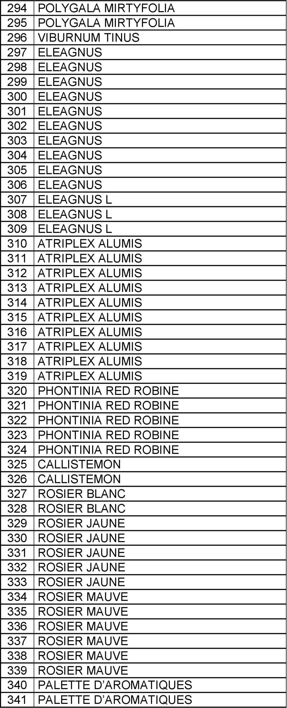 ALUMIS 318 ATRIPLEX ALUMIS 319 ATRIPLEX ALUMIS 320 PHONTINIA RED ROBINE 321 PHONTINIA RED ROBINE 322 PHONTINIA RED ROBINE 323 PHONTINIA RED ROBINE 324 PHONTINIA RED ROBINE 325 CALLISTEMON 326