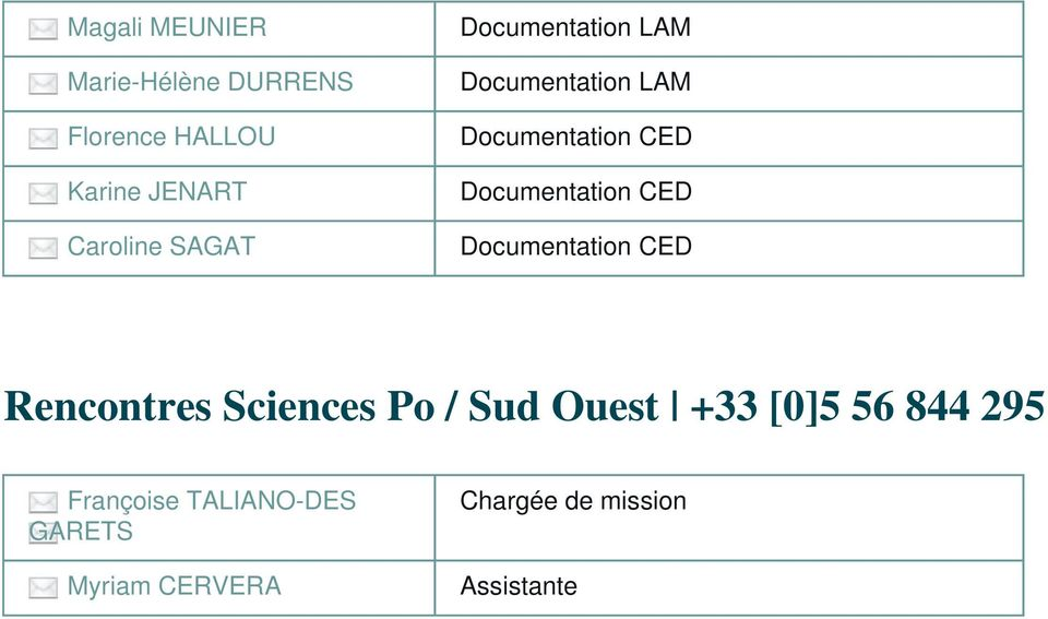 CED Documentation CED Rencontres Sciences Po / Sud Ouest +33 [0]5 56 844