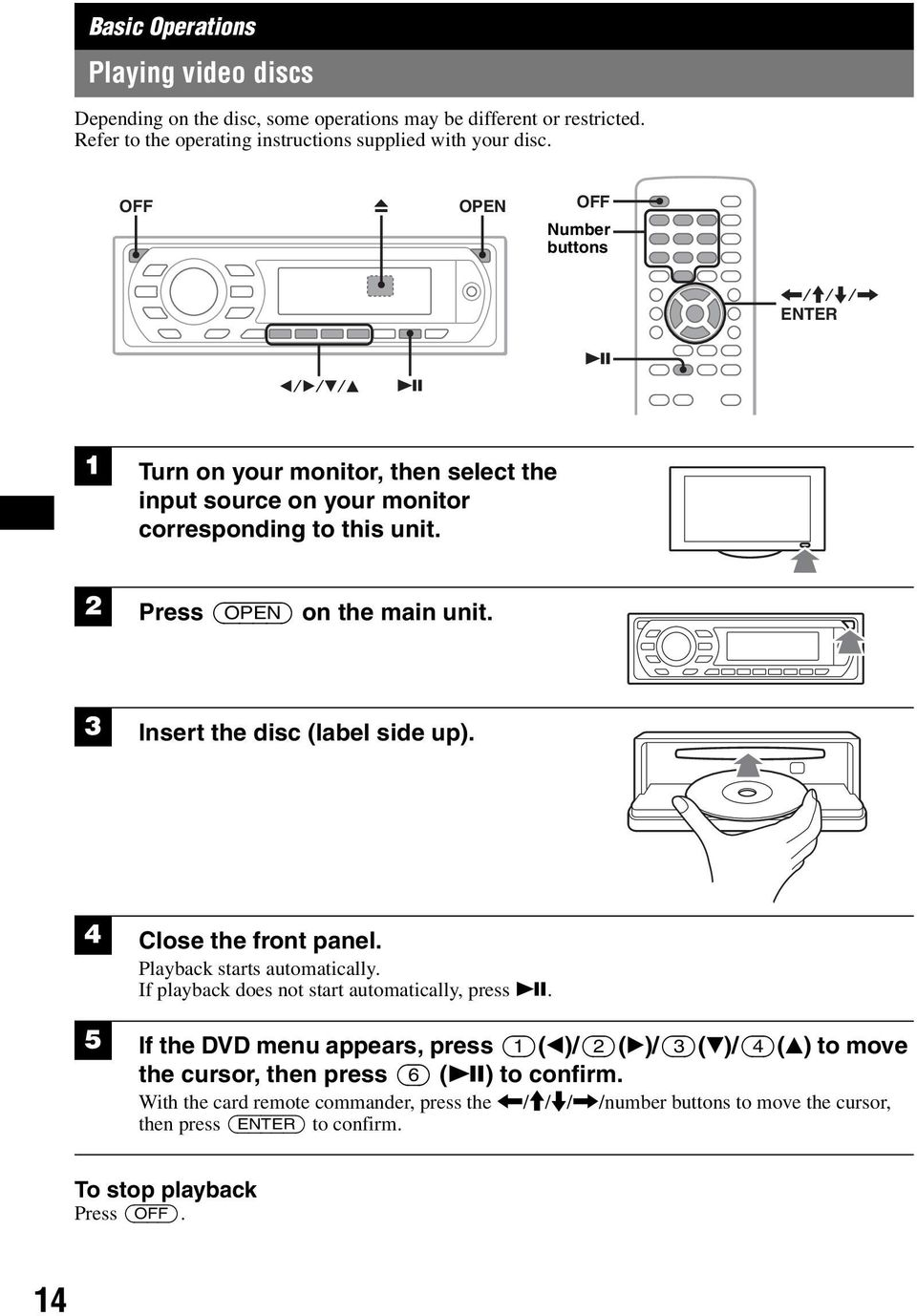 3 Insert the disc (label side up). 4 Close the front panel. Playback starts automatically. If playback does not start automatically, press u.