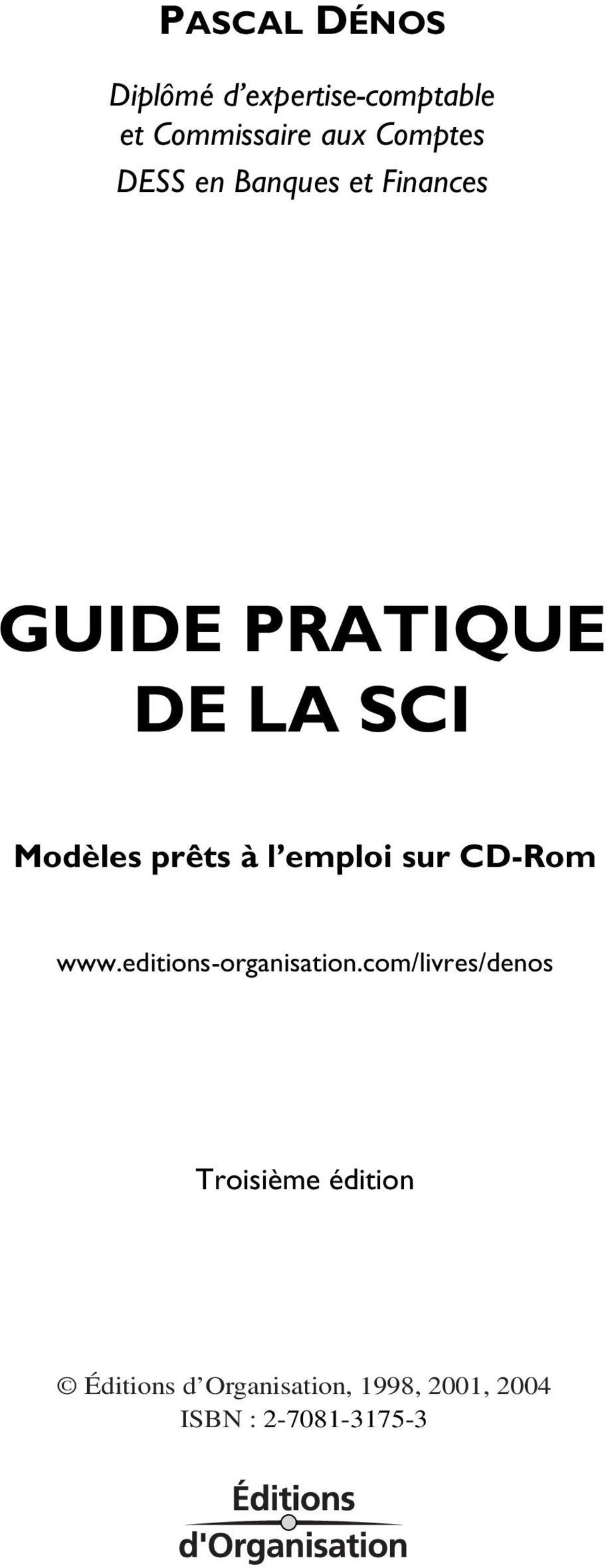 emploi sur CD-Rom www.editions-organisation.