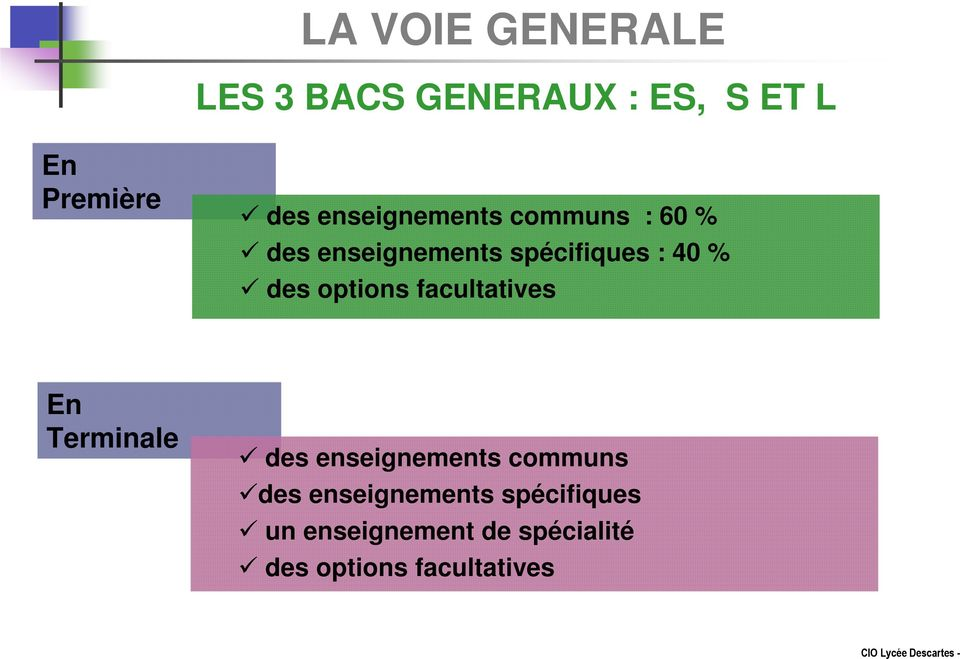 des options facultatives En des enseignements communs des