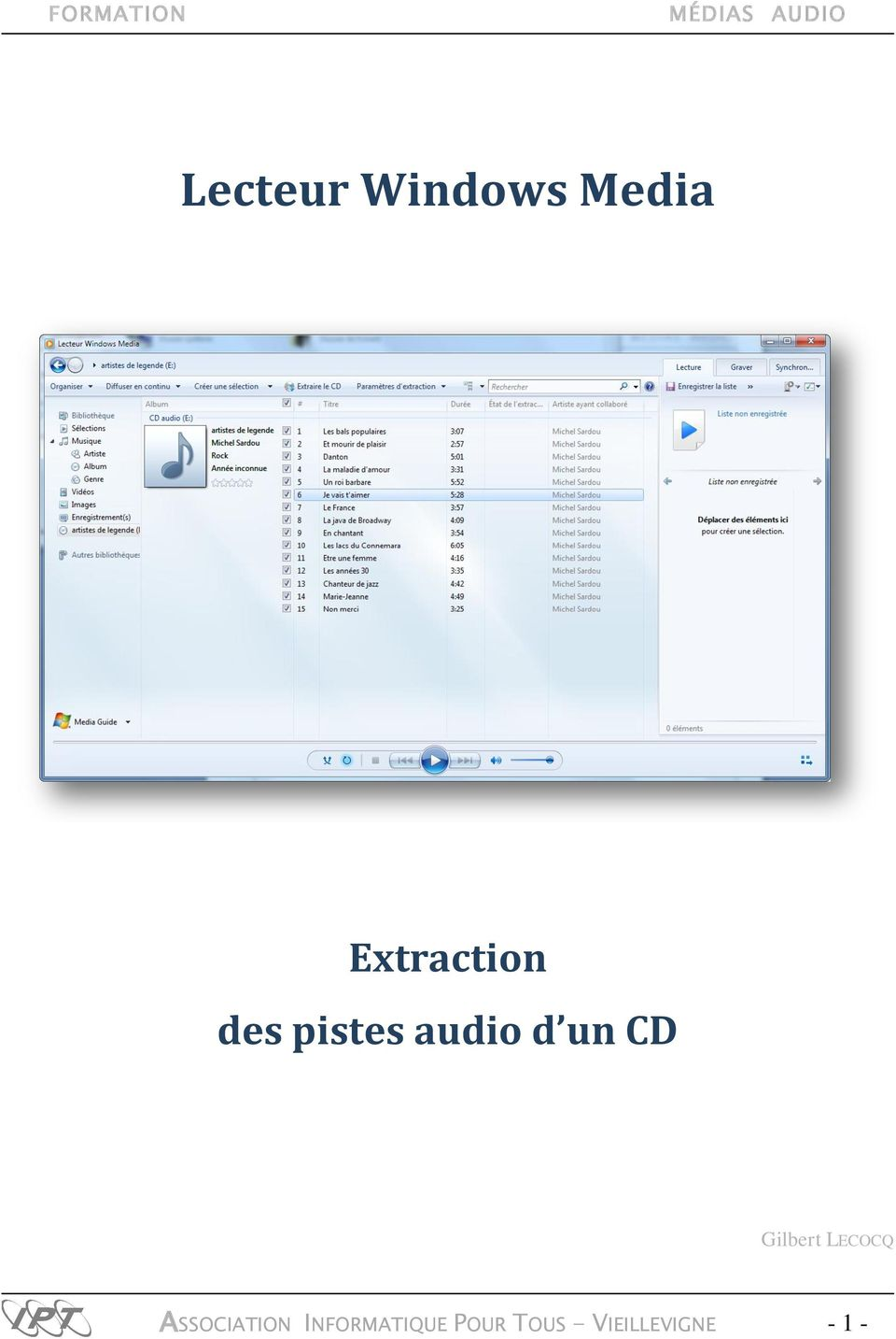 des pistes audio d