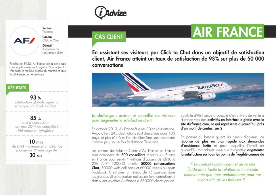 » CAS CLIENT AIR FRANCE En assistant ses visiteurs par Click to Chat dans un objectif de satisfaction client, Air France atteint un taux de satisfaction de 93% sur plus de 50 000 conversations