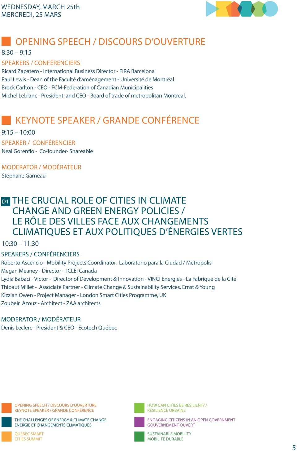 KEYNOTE SPEAKER / GRANDE CONFÉRENCE 9:15 10:00 SPEAKER / CONFÉRENCIER Neal Gorenflo - Co-founder- Shareable Stéphane Garneau D1 THE CRUCIAL ROLE OF CITIES IN CLIMATE CHANGE AND GREEN ENERGY POLICIES