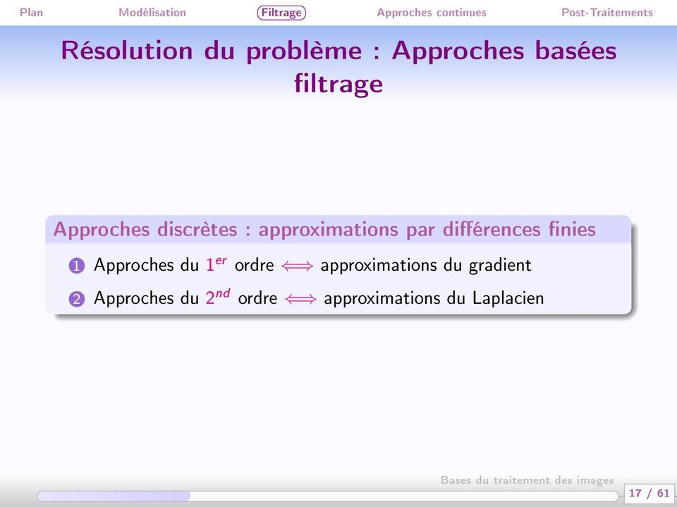nies 1 Approches du 1 er ordre approximations du