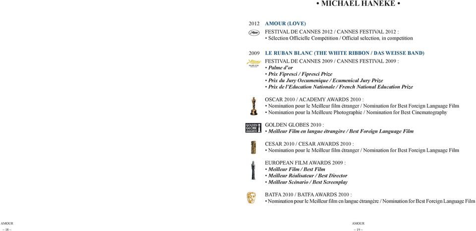 National Education Prize oscar 2010 / AcAdemY AWArdS 2010 : nomination pour le meilleur film étranger / nomination for best foreign language film nomination pour la meilleure photographie /