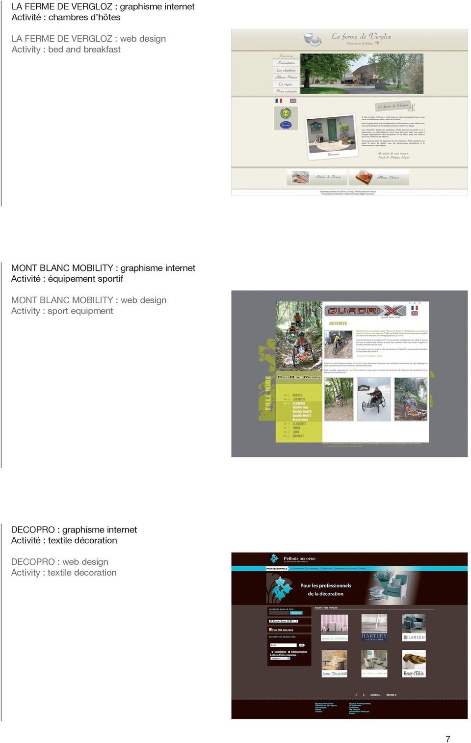 équipement sportif MONT BLANC MOBILITY : web design Activity : sport equipment DECOPRO :