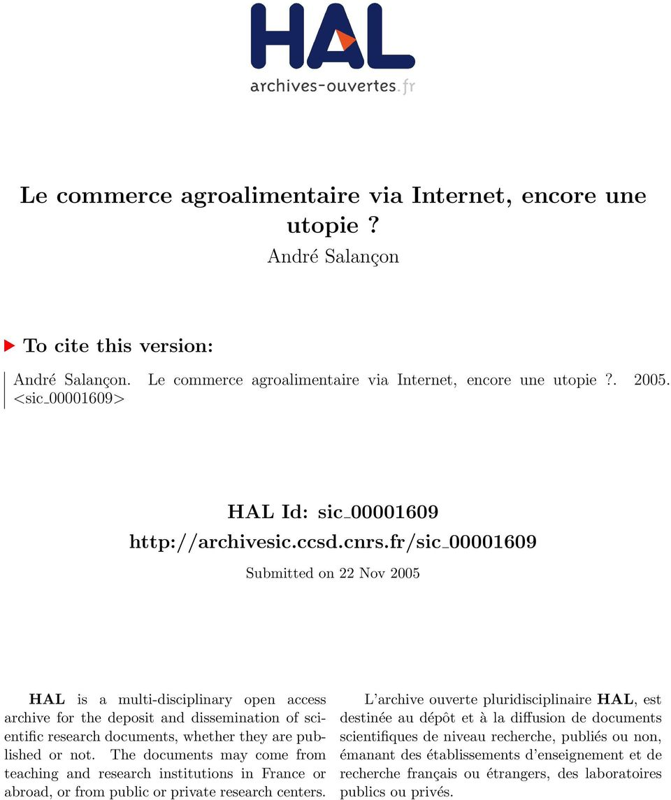 fr/sic 00001609 Submitted on 22 Nov 2005 HAL is a multi-disciplinary open access archive for the deposit and dissemination of scientific research documents, whether they are published or not.