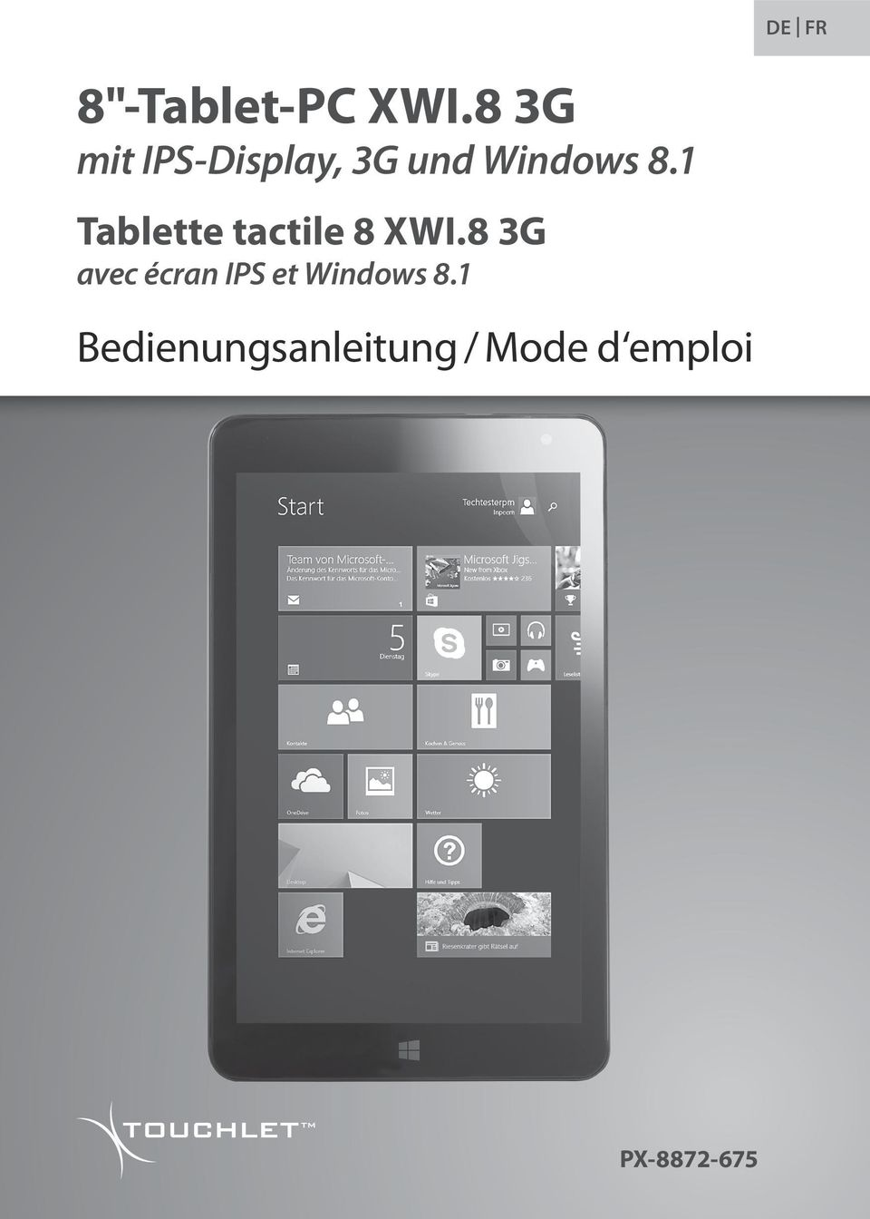 1 Tablette tactile 8 XWI.
