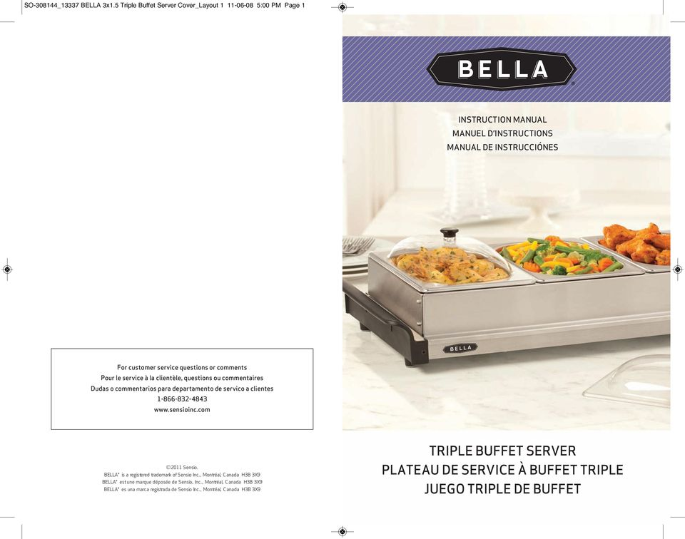 bella cucina triple buffet server warming tray instructions