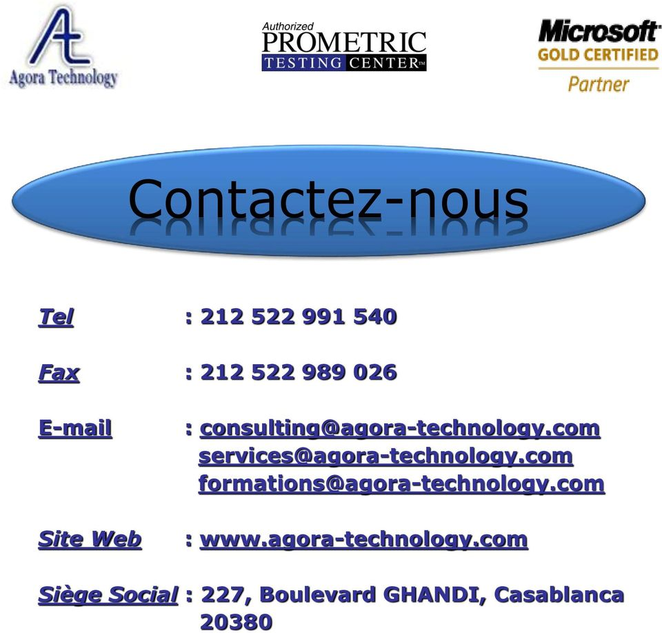 com services@agora-technology.com formations@agora-technology.