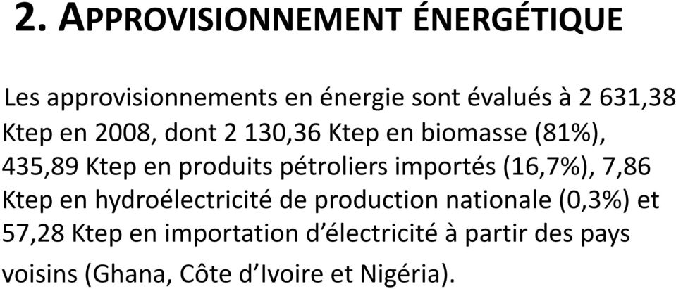 pétroliers importés (16,7%), 7,86 Ktep en hydroélectricité de production nationale (0,3%)