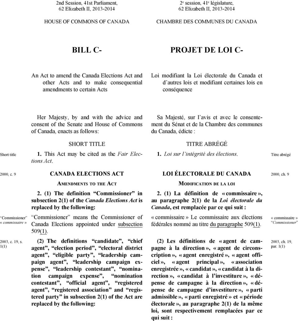 conséquence Short title Her Majesty, by and with the advice and consent of the Senate and House of Commons of Canada, enacts as follows: SHORT TITLE 1. This Act may be cited as the Fair Elections Act.