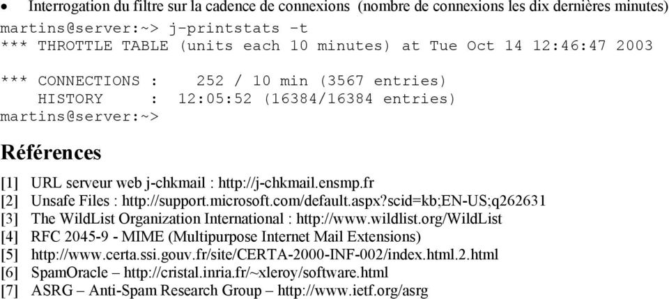 fr [2] Unsafe Files : http://support.microsoft.com/default.aspx?scid=kb;en-us;q262631 [3] The WildList Organization International : http://www.wildlist.
