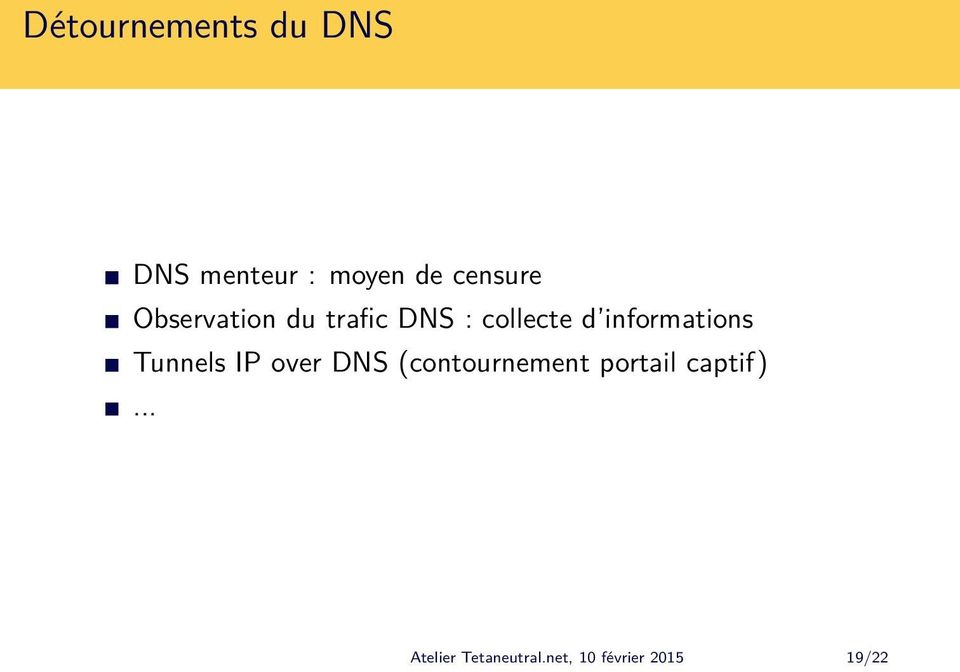 informations Tunnels IP over DNS (contournement