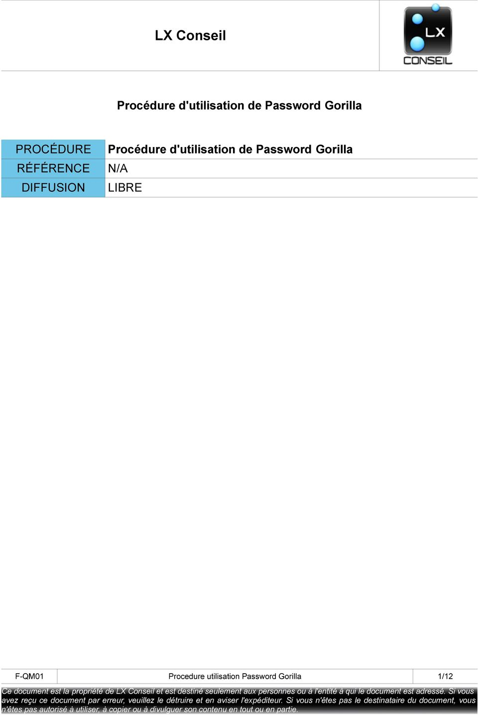 F-QM01 Procedure utilisation Password