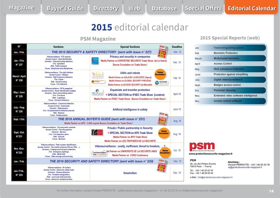 Magazine Buyer s Guide Directory Web Database Special Offers Editorial Calendar 2015 editorial calendar PSM Magazine N Sections Special Sections Deadline Jan. / Feb.