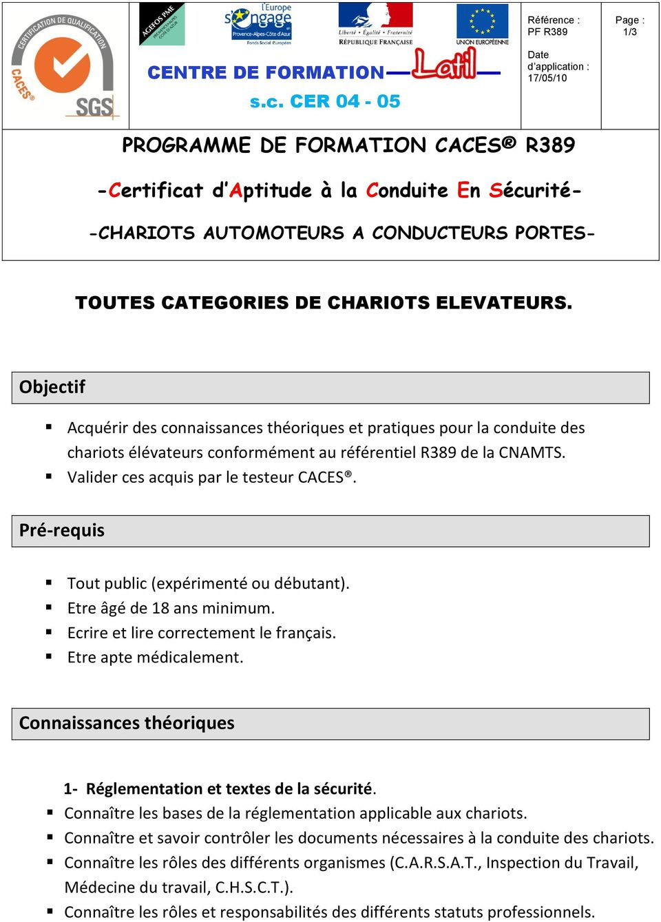 programme de formation caces r372 modifiee certificat d aptitude la conduite en s curit pdf. Black Bedroom Furniture Sets. Home Design Ideas