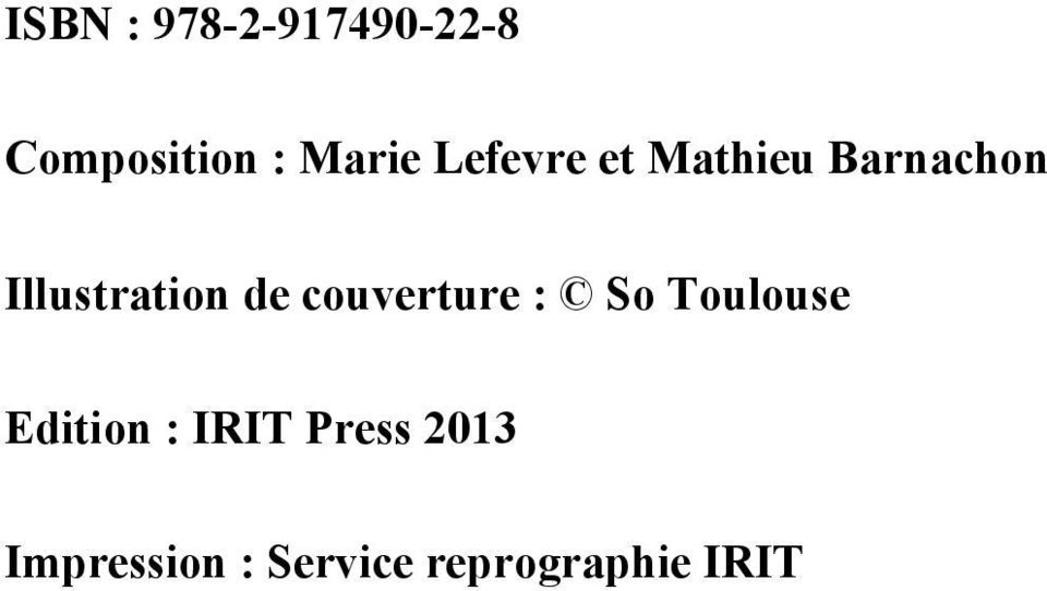 couverture : So Toulouse Edition : IRIT