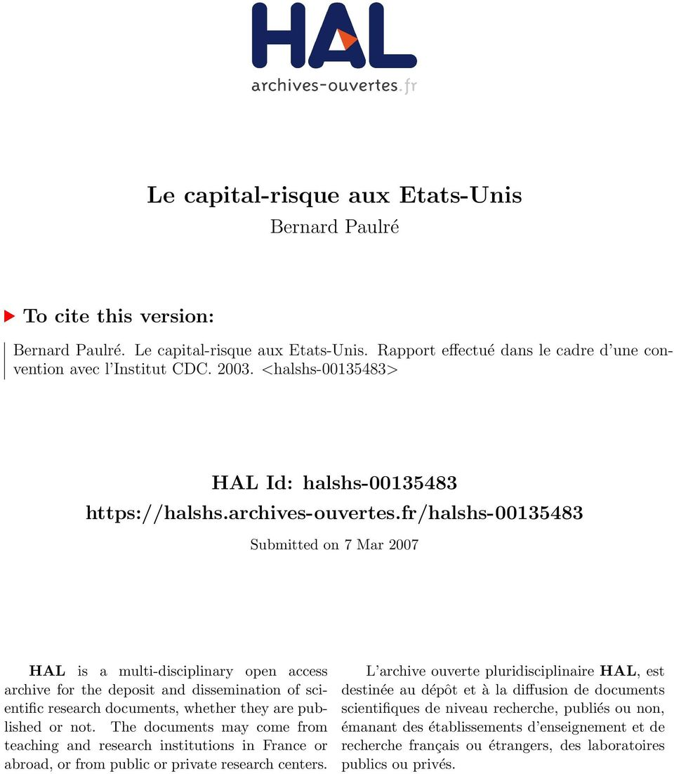 fr/halshs-00135483 Submitted on 7 Mar 2007 HAL is a multi-disciplinary open access archive for the deposit and dissemination of scientific research documents, whether they are published or not.