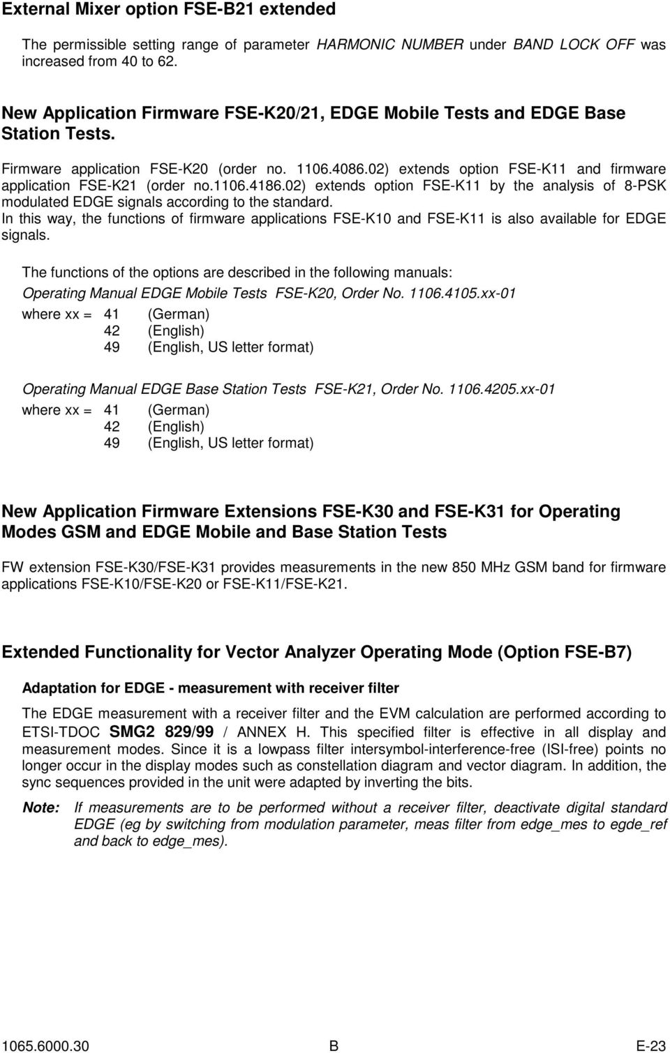 02) extends option FSE-K11 and firmware application FSE-K21 (order no.1106.4186.02) extends option FSE-K11 by the analysis of 8-PSK modulated EDGE signals according to the standard.