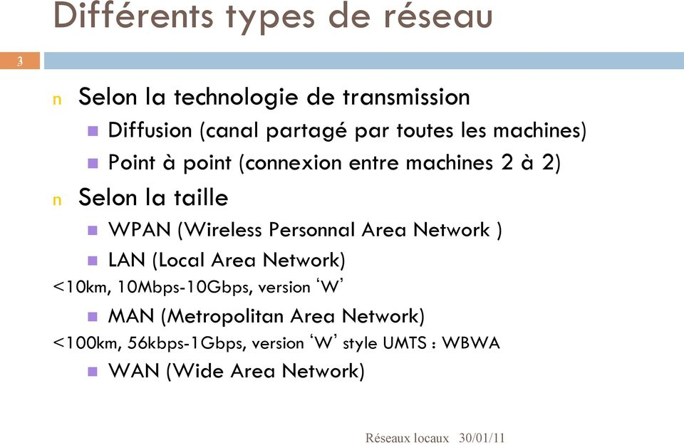 (Wireless Personnal Area Network ) n LAN (Local Area Network) <10km, 10Mbps-10Gbps, version W n MAN
