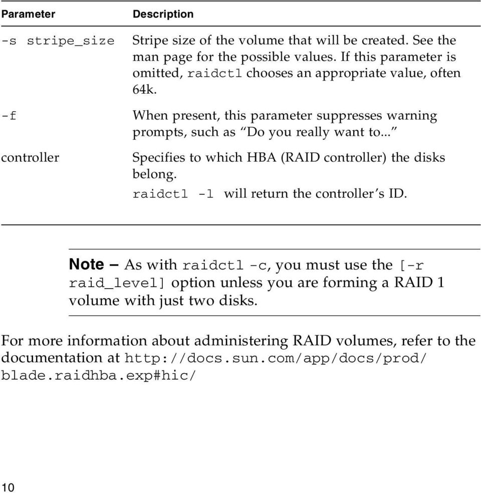 .. controller Specifies to which HBA (RAID controller) the disks belong. raidctl -l will return the controller s ID.