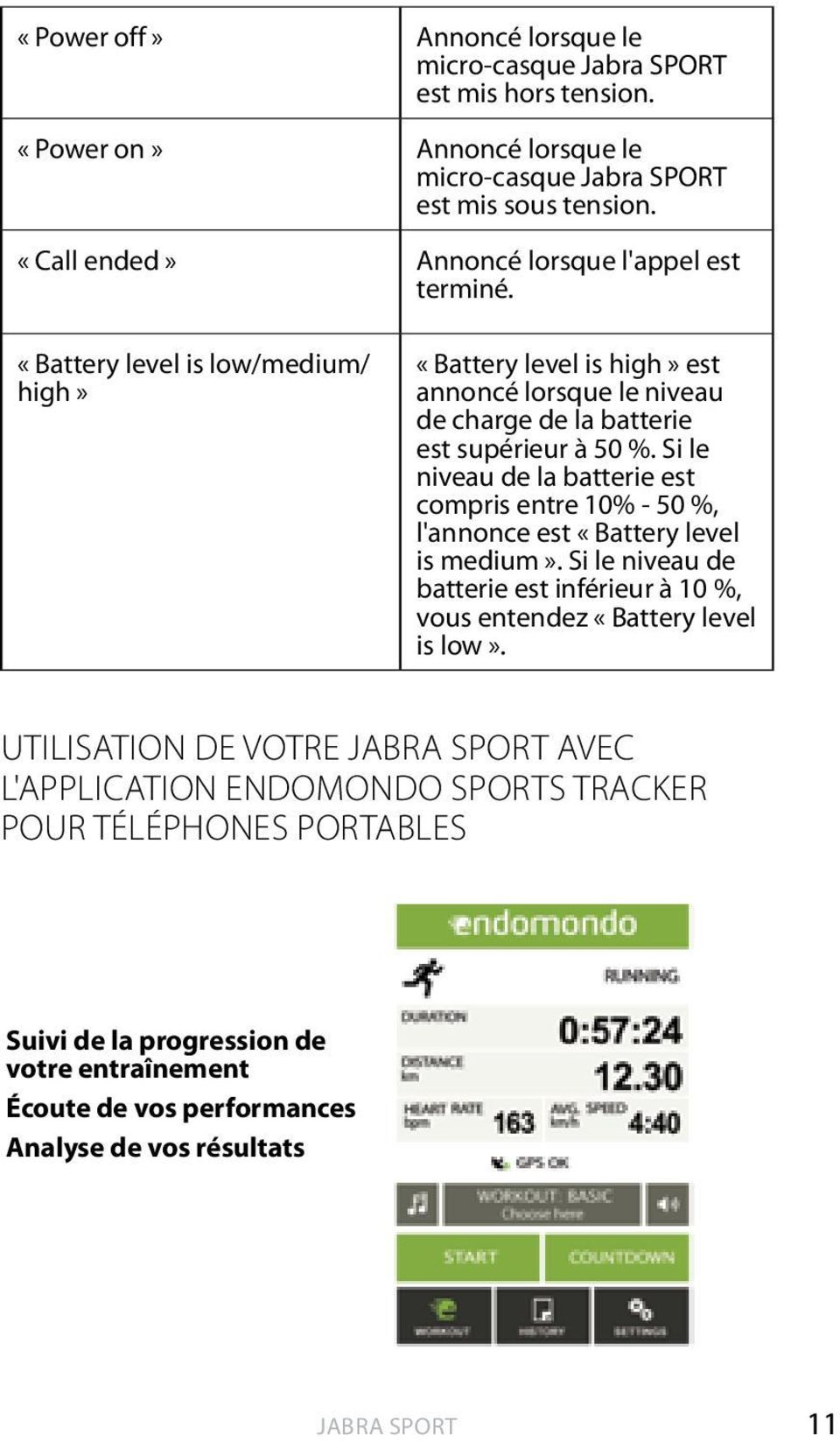 «Battery level is low/medium/ high» «Battery level is high» est annoncé lorsque le niveau de charge de la batterie est supérieur à 50 %.