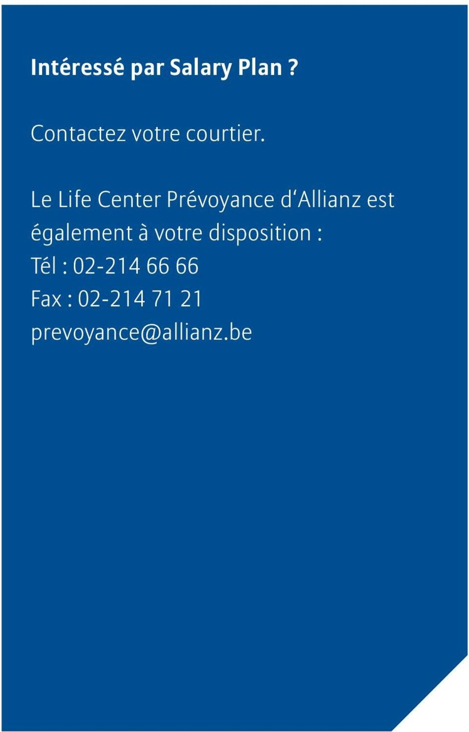 Le Life Center Prévoyance d Allianz est