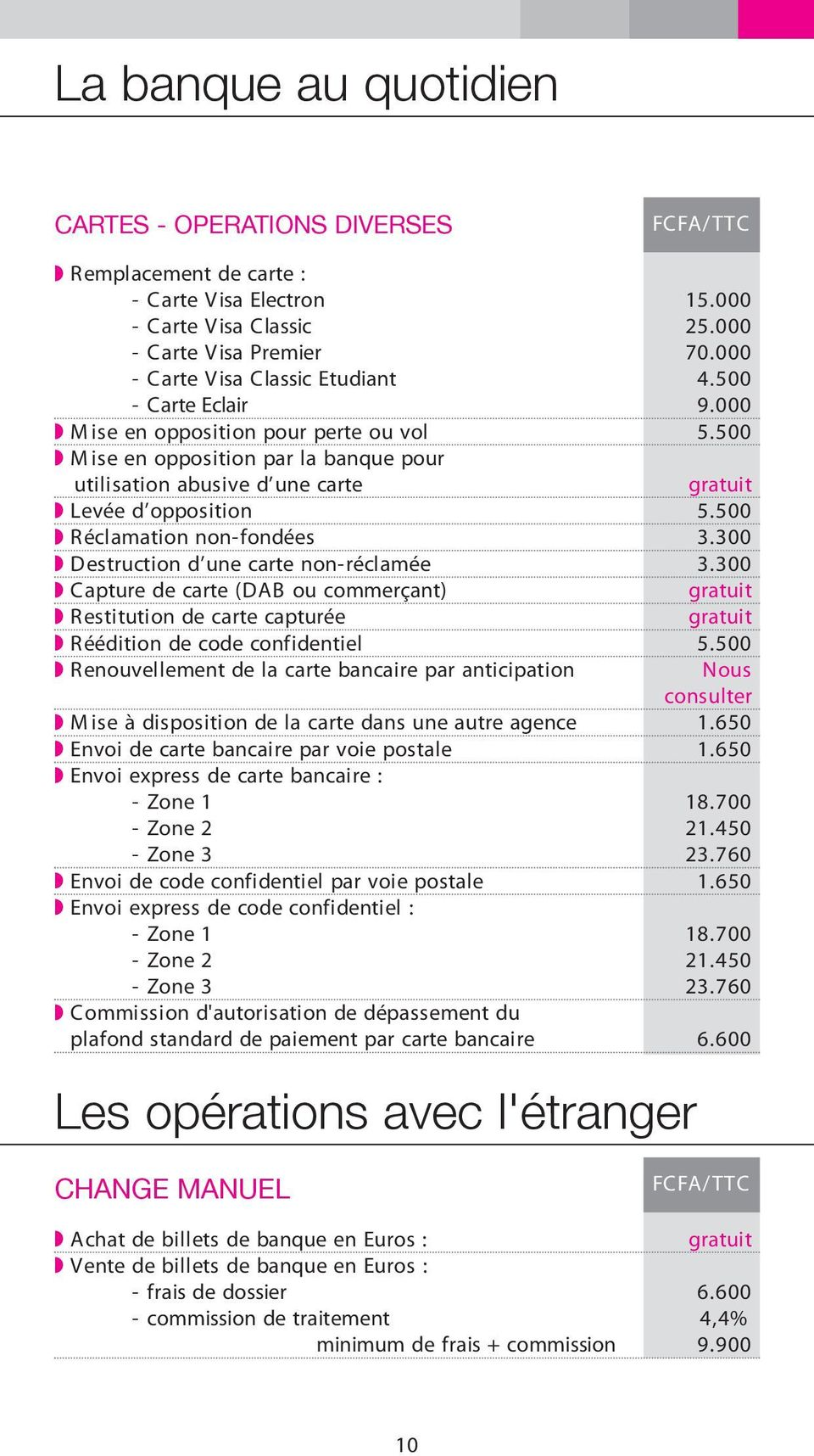 300 Destruction d une carte non-réclamée 3.300 Capture de carte (DAB ou commerçant) Restitution de carte capturée Réédition de code confidentiel 5.