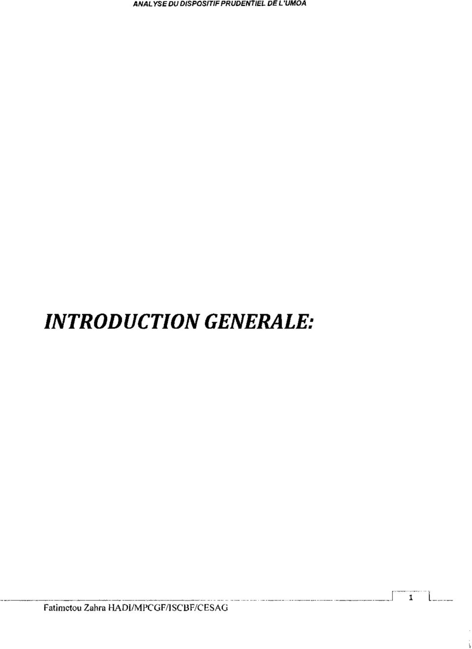 INTRODUCTION GENERALE: