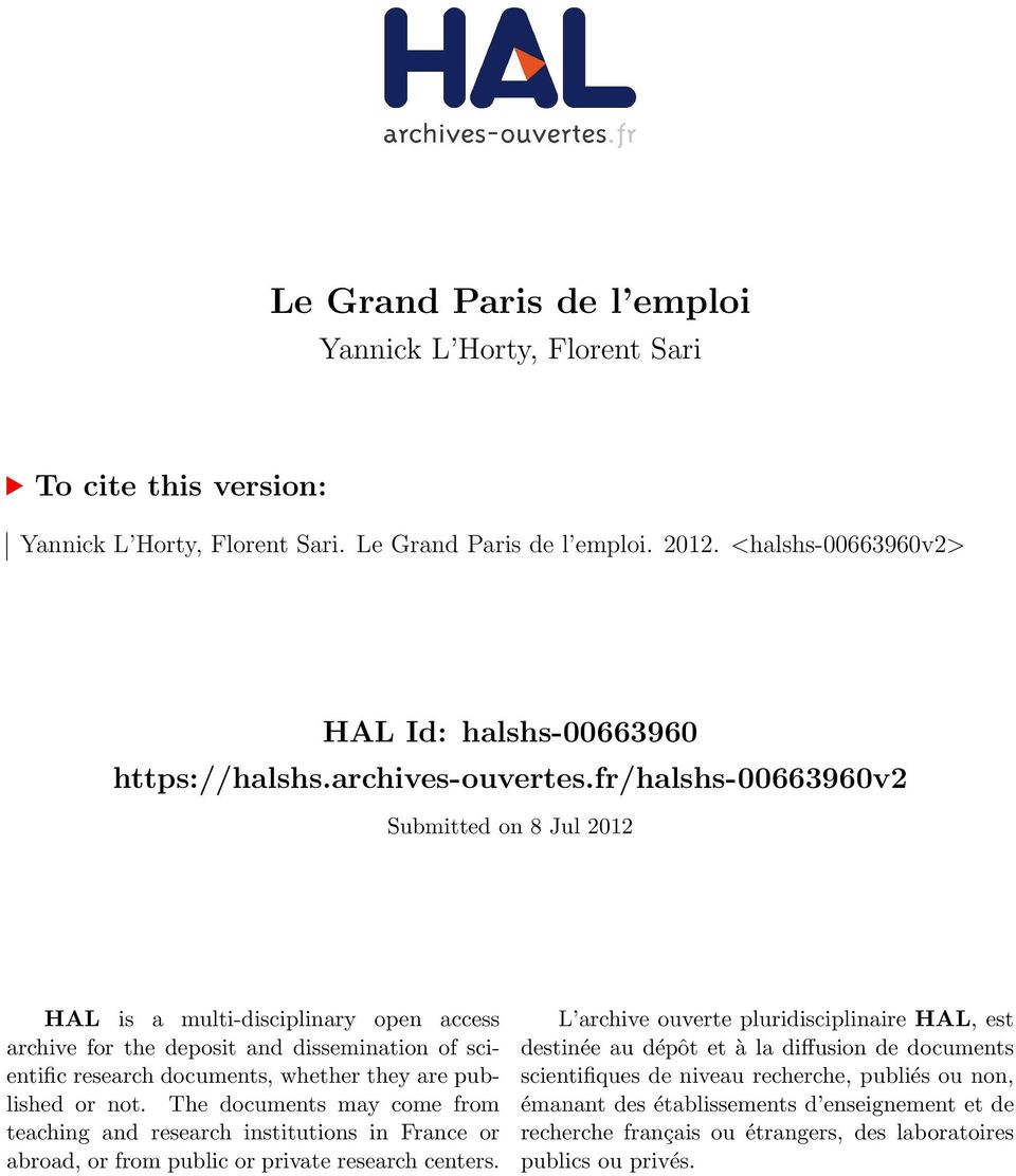 fr/halshs-00663960v2 Submitted on 8 Jul 2012 HAL is a multi-disciplinary open access archive for the deposit and dissemination of scientific research documents, whether they are published or not.