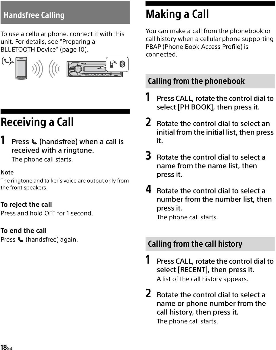 Calling from the phonebook Receiving a Call 1 Press (handsfree) when a call is received with a ringtone. The phone call starts.