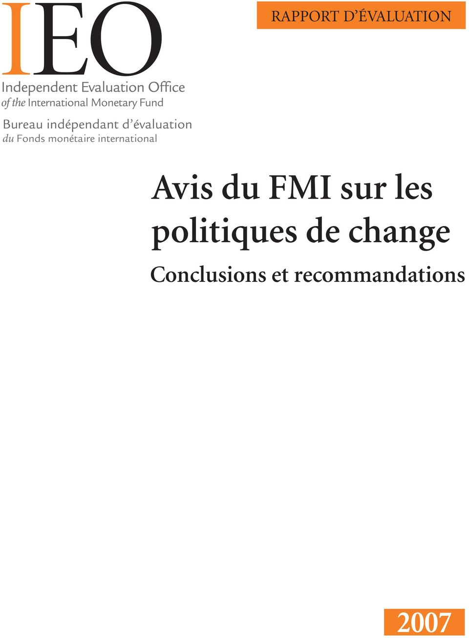 international Avis du FMI sur les