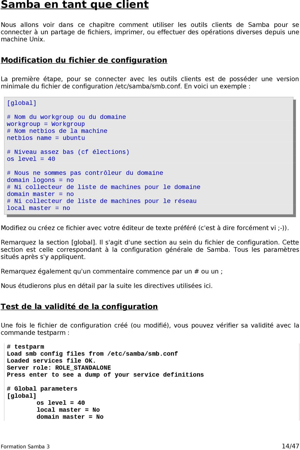 Modification du fichier de confi