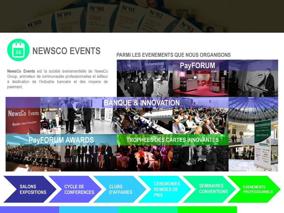 PARMI LES EVENEMENTS QUE NOUS ORGANISONS PayFORUM BANQUE & INNOVATION PayFORUM AWARDS TROPHEES DES CARTES