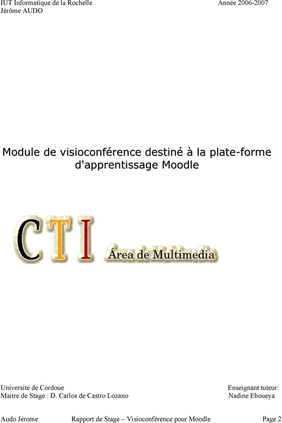d'apprentissage Moodle Université de Cordoue Maitre de Stage