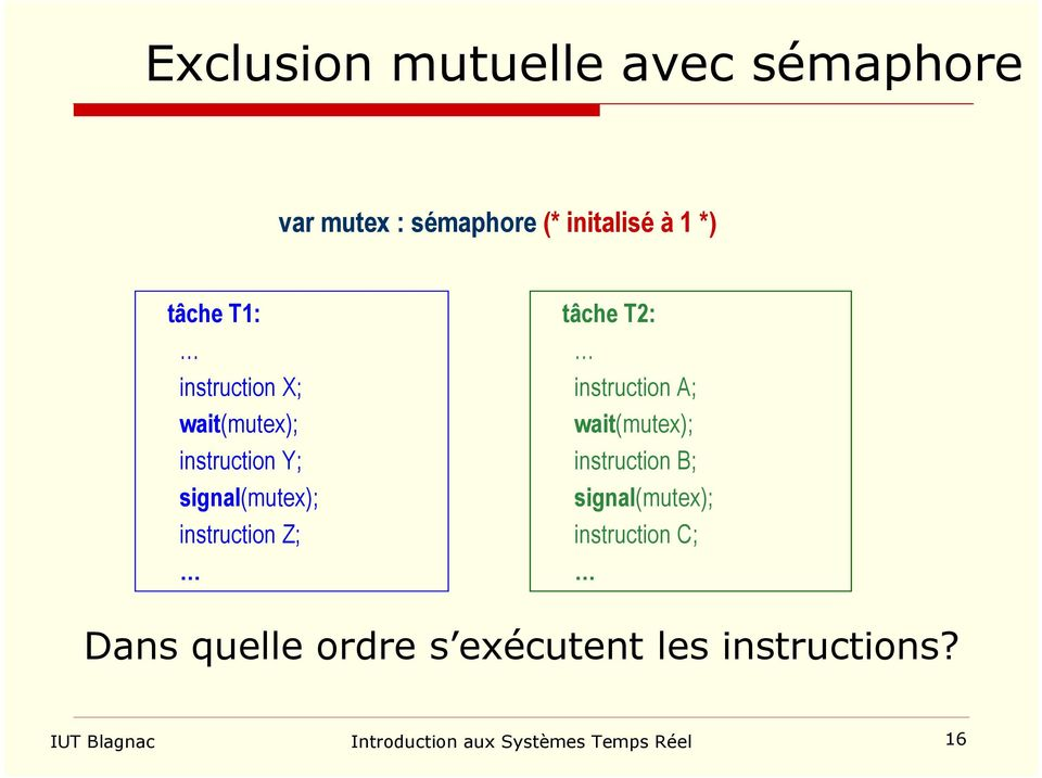 T2: instruction A; wait(mutex); instruction B; signal(mutex); instruction C; Dans