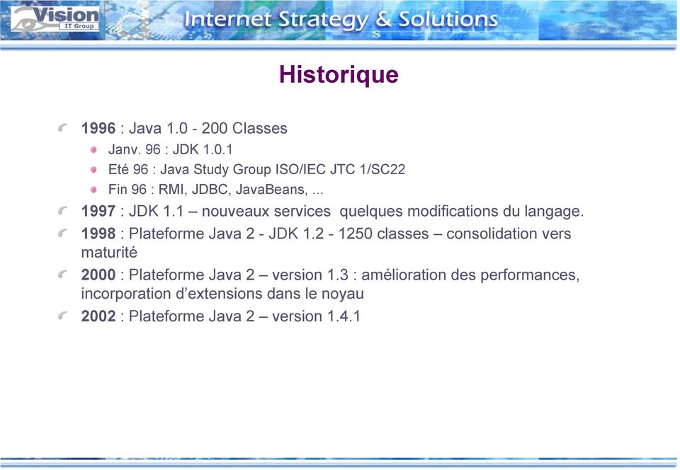 2-1250 classes consolidation vers maturité 2000 : Plateforme Java 2 version 1.