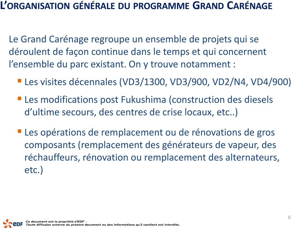 On y trouve notamment : Les visites décennales (VD3/1300, VD3/900, VD2/N4, VD4/900) Les modifications post Fukushima (construction des diesels