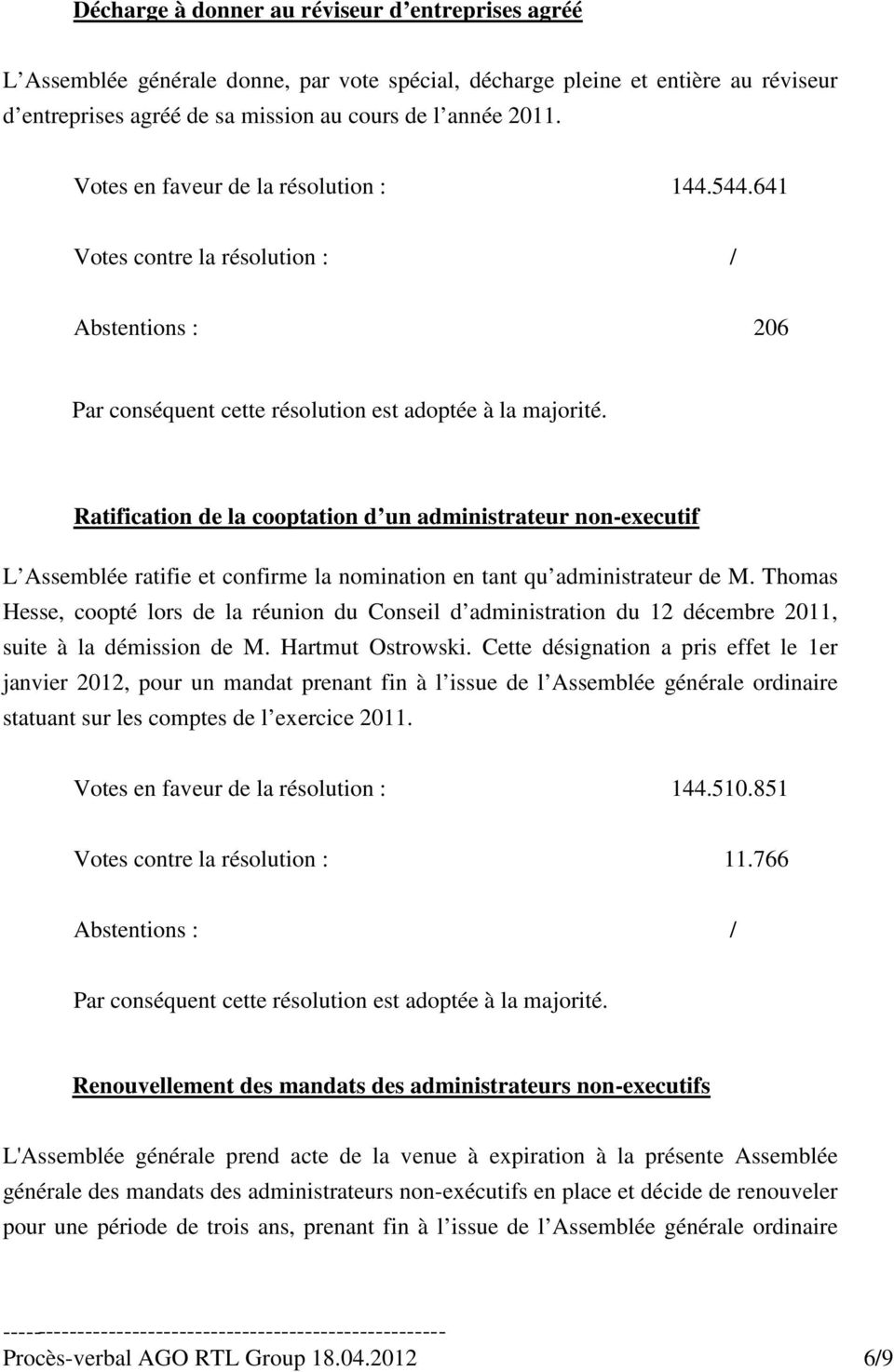 641 Abstentions : 206 Ratification de la cooptation d un administrateur non-executif L Assemblée ratifie et confirme la nomination en tant qu administrateur de M.