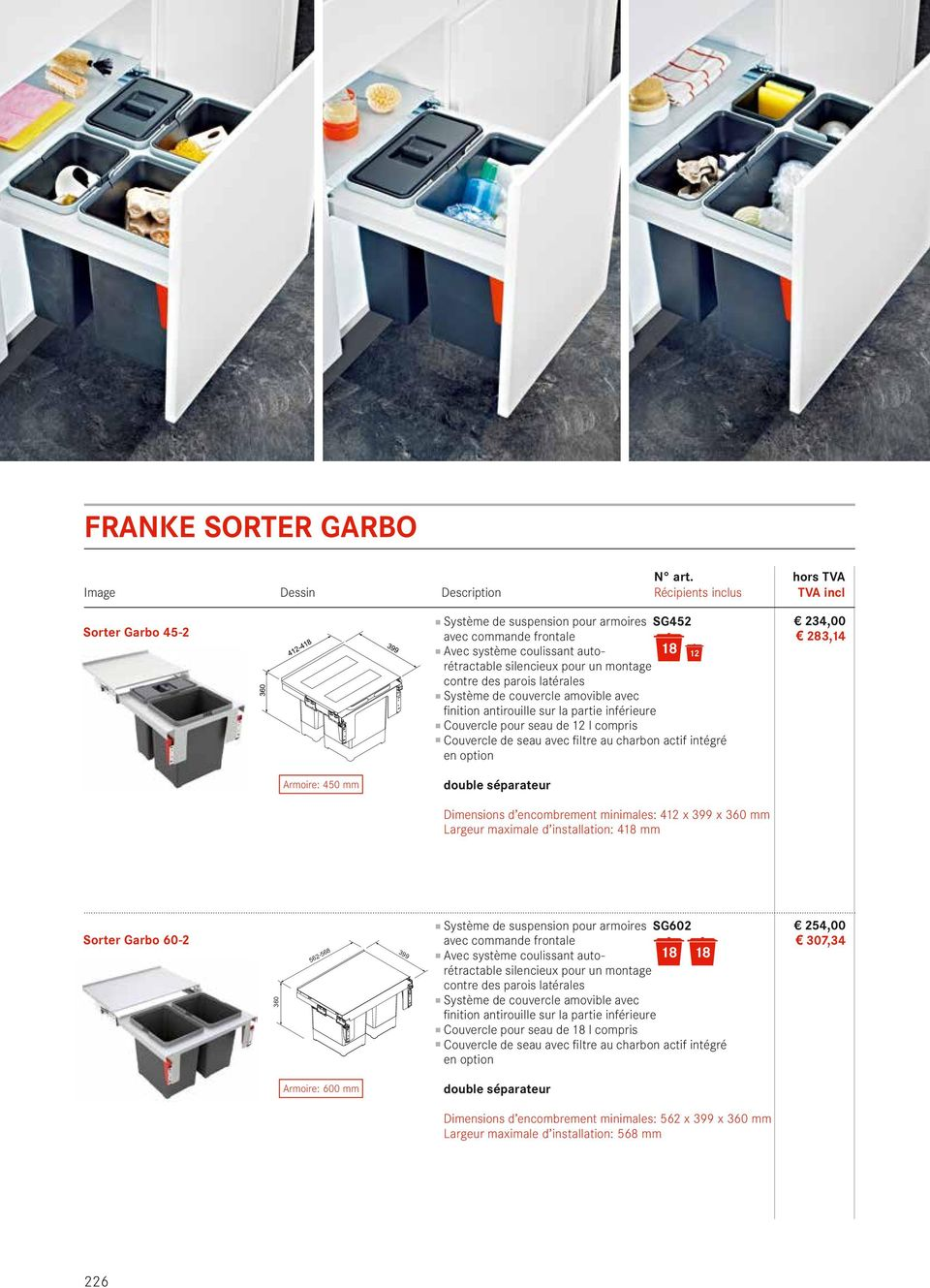 option 234,00 23,14 Armoire: 450 mm Dimensions d encombrement minimales: 412 x 399 x 360 mm Largeur maximale d installation: 4 mm Sorter Garbo 60-2 360 562-56 399 Système de suspension pour armoires