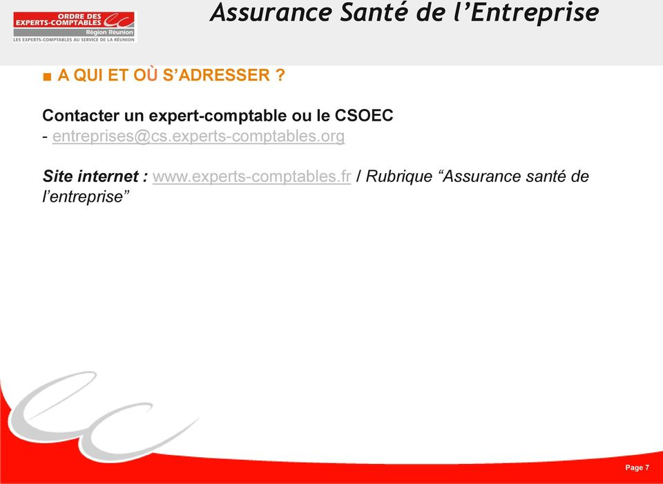 entreprises@cs.experts-comptables.org Site internet : www.