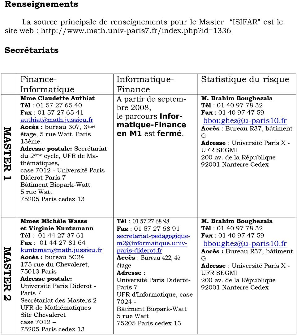 Adresse postale: Secrétariat du 2 ème cycle, UFR de Mathématiques, case 7012 - Université Paris Diderot-Paris 7 Bâtiment Biopark-Watt 5 rue Watt 75205 Paris cedex 13 Finance- Informatique