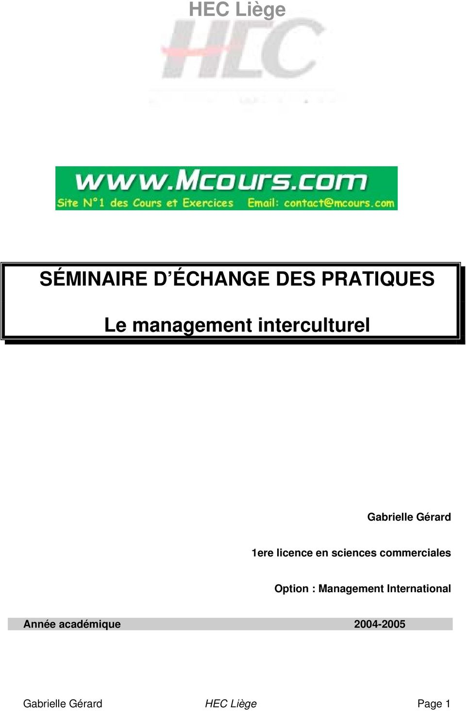 en sciences commerciales Option : Management