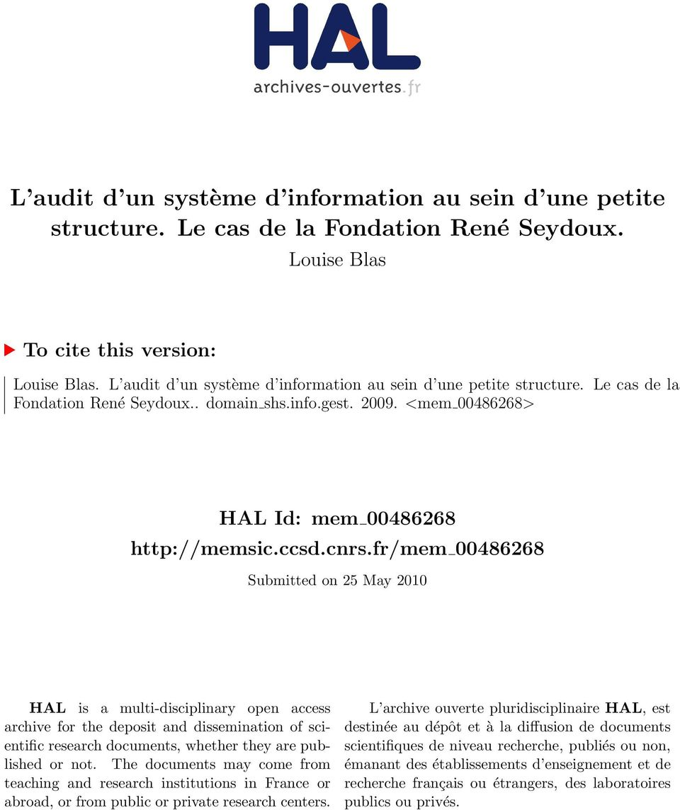 fr/mem 00486268 Submitted on 25 May 2010 HAL is a multi-disciplinary open access archive for the deposit and dissemination of scientific research documents, whether they are published or not.