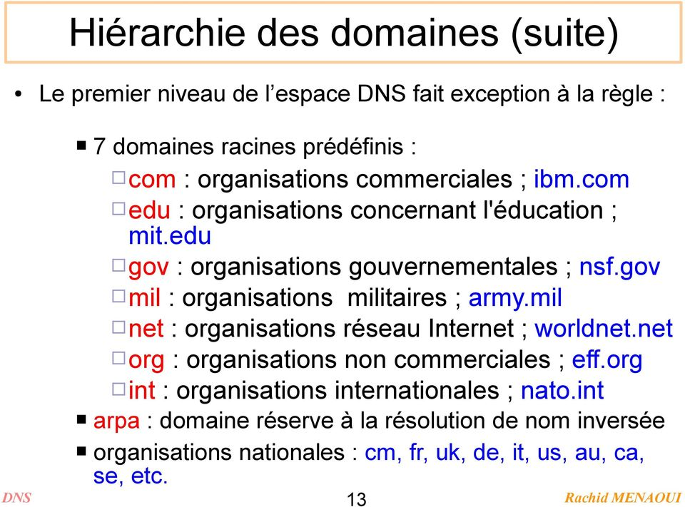 gov mil : organisations militaires ; army.mil net : organisations réseau Internet ; worldnet.net org : organisations non commerciales ; eff.