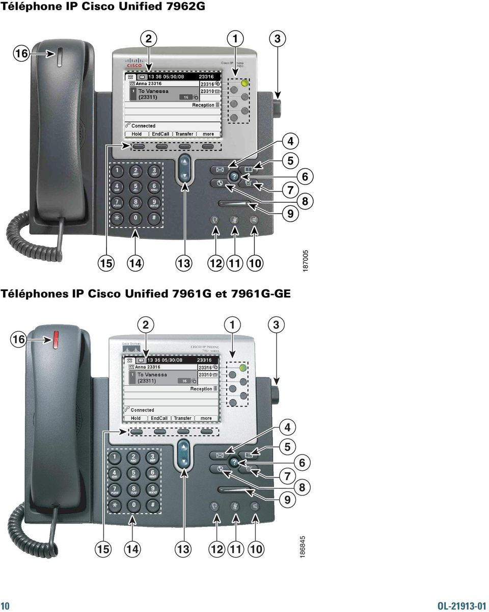 Cisco Unified 7961G et 7961G-GE 16 2 1 3 1 4 5