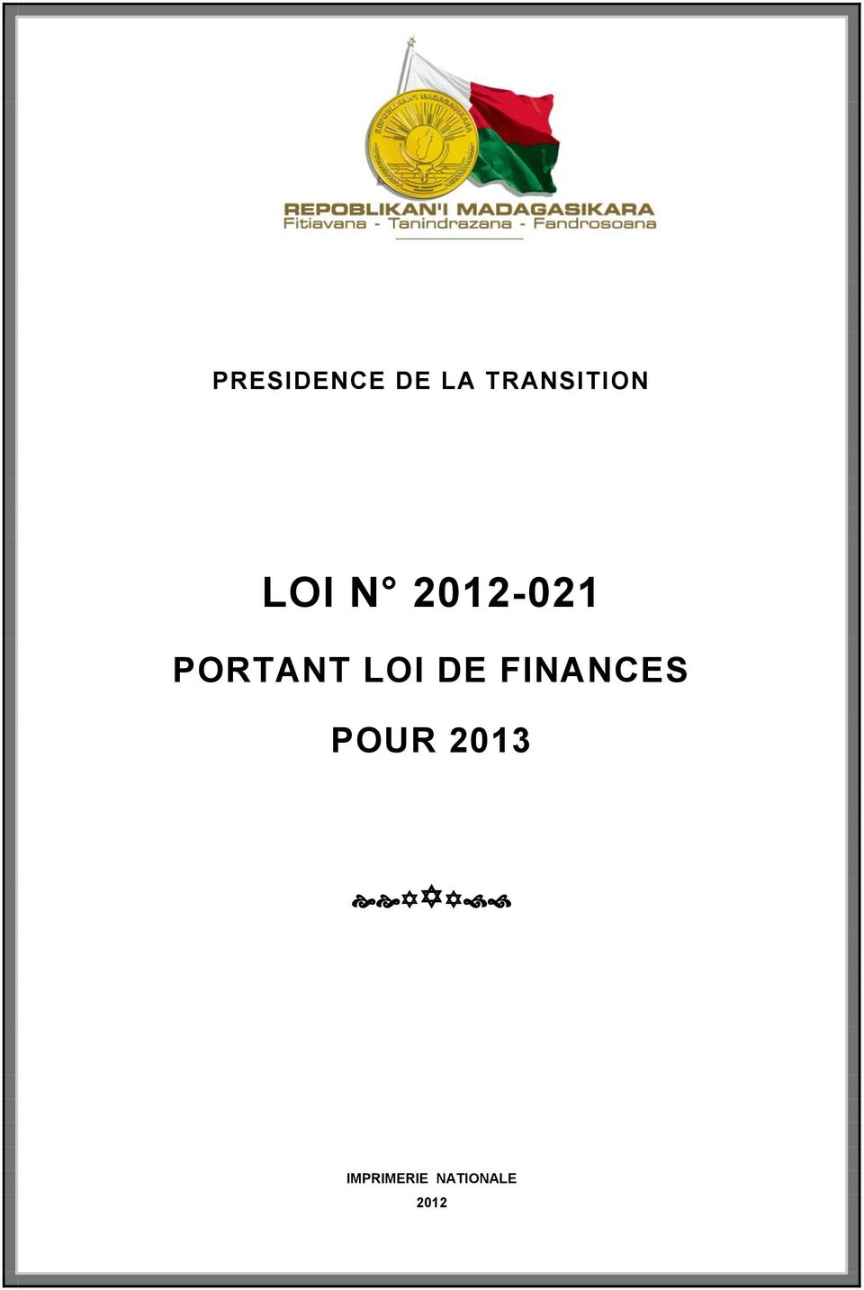 PORTANT LOI DE FINANCES