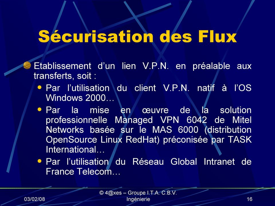 natif à l OS Windows 2000 Par la mise en œuvre de la solution professionnelle Managed VPN 6042 de